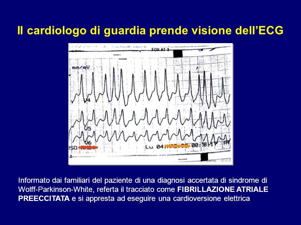 Il cardiologo di guardia prende visione dell'ECG Informato dai familiari del paziente di una diagnosi accertata di sindrome di Wolff-Parkinson-White,
