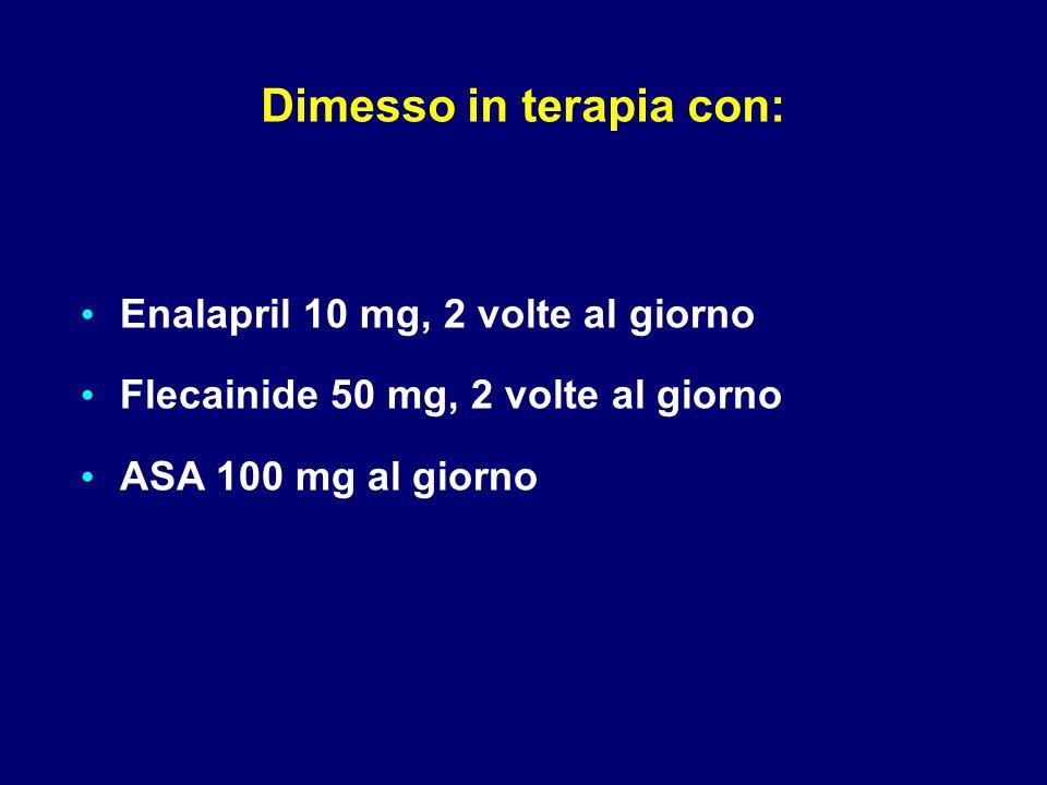 Dimesso in terapia con: Enalapril 10 mg, 2 volte al giorno Flecainide 50 mg, 2 volte al giorno ASA 100 mg al giorno