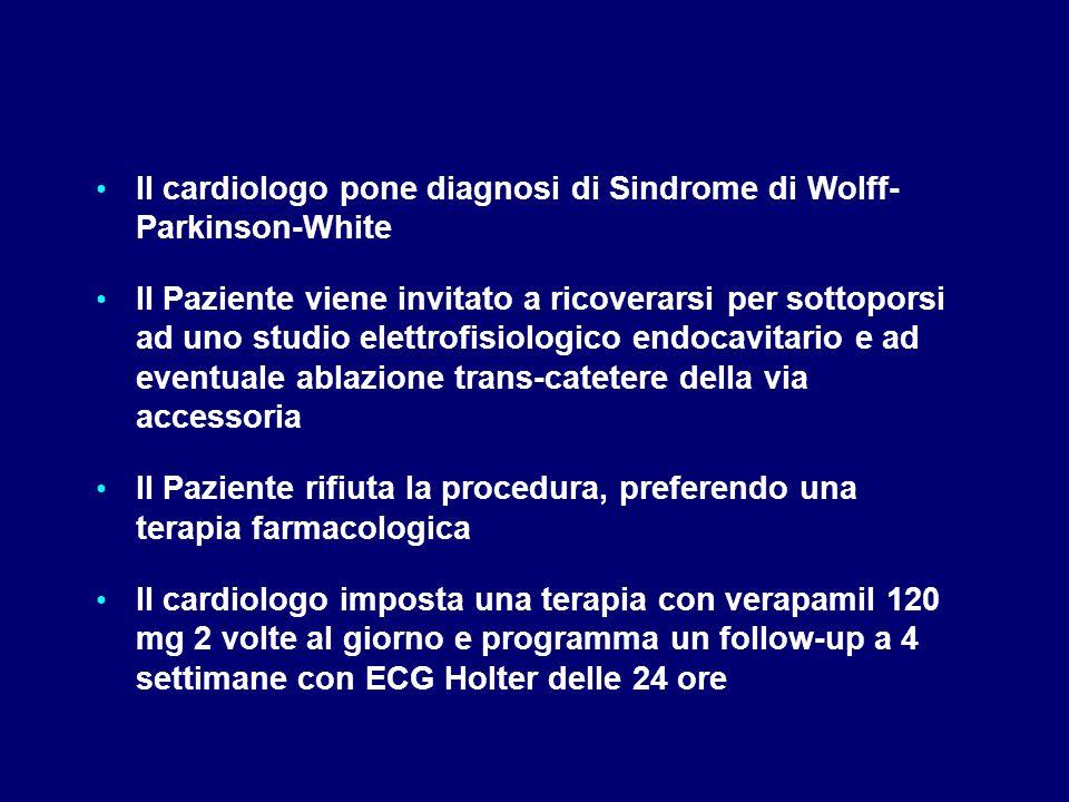 Il cardiologo pone diagnosi di Sindrome di Wolff- Parkinson-White Il Paziente viene invitato a ricoverarsi per sottoporsi ad uno studio elettrofisiolo