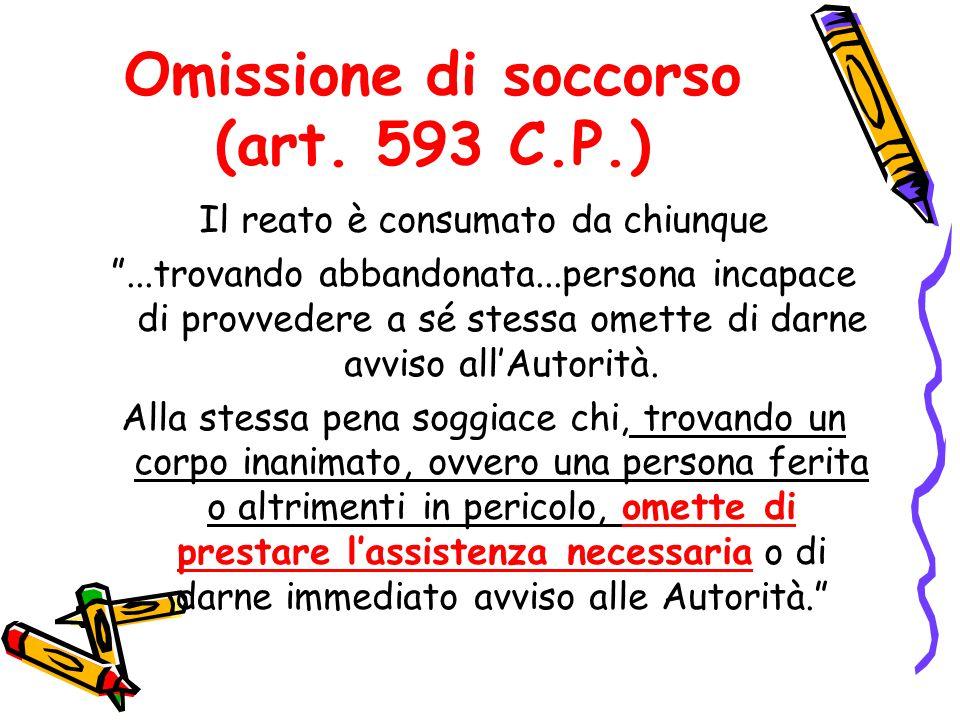 """Omissione di soccorso (art. 593 C.P.) Il reato è consumato da chiunque """"...trovando abbandonata...persona incapace di provvedere a sé stessa omette di"""