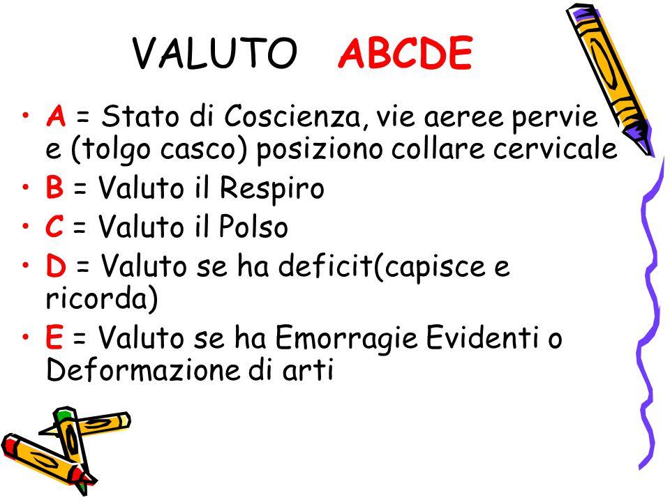 VALUTO ABCDE A = Stato di Coscienza, vie aeree pervie e (tolgo casco) posiziono collare cervicale B = Valuto il Respiro C = Valuto il Polso D = Valuto