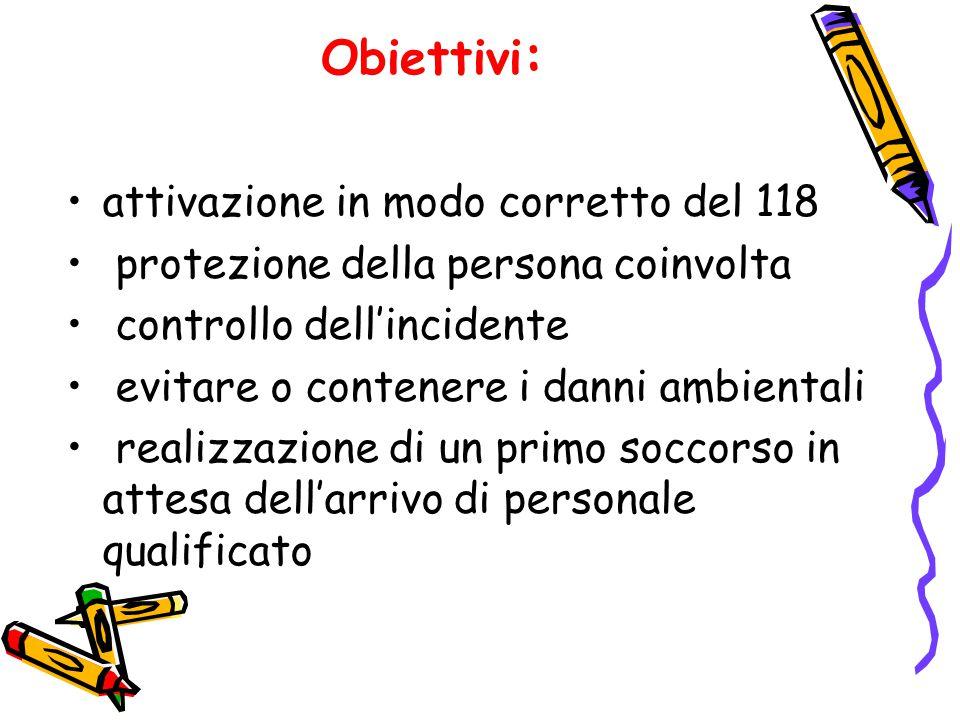 Obiettivi : attivazione in modo corretto del 118 protezione della persona coinvolta controllo dell'incidente evitare o contenere i danni ambientali re