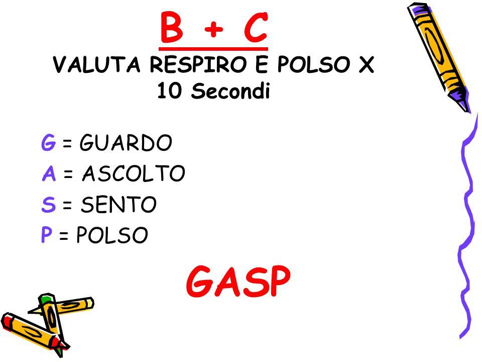 B + C VALUTA RESPIRO E POLSO X 10 Secondi G = GUARDO A = ASCOLTO S = SENTO P = POLSO GASP