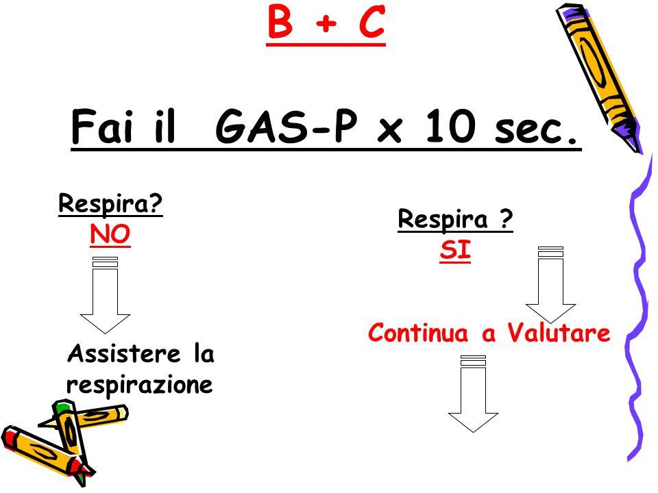 B + C Fai il GAS-P x 10 sec. Respira ? SI Respira? NO Assistere la respirazione Continua a Valutare