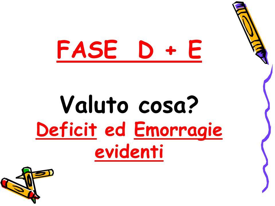 FASE D + E Valuto cosa? Deficit ed Emorragie evidenti