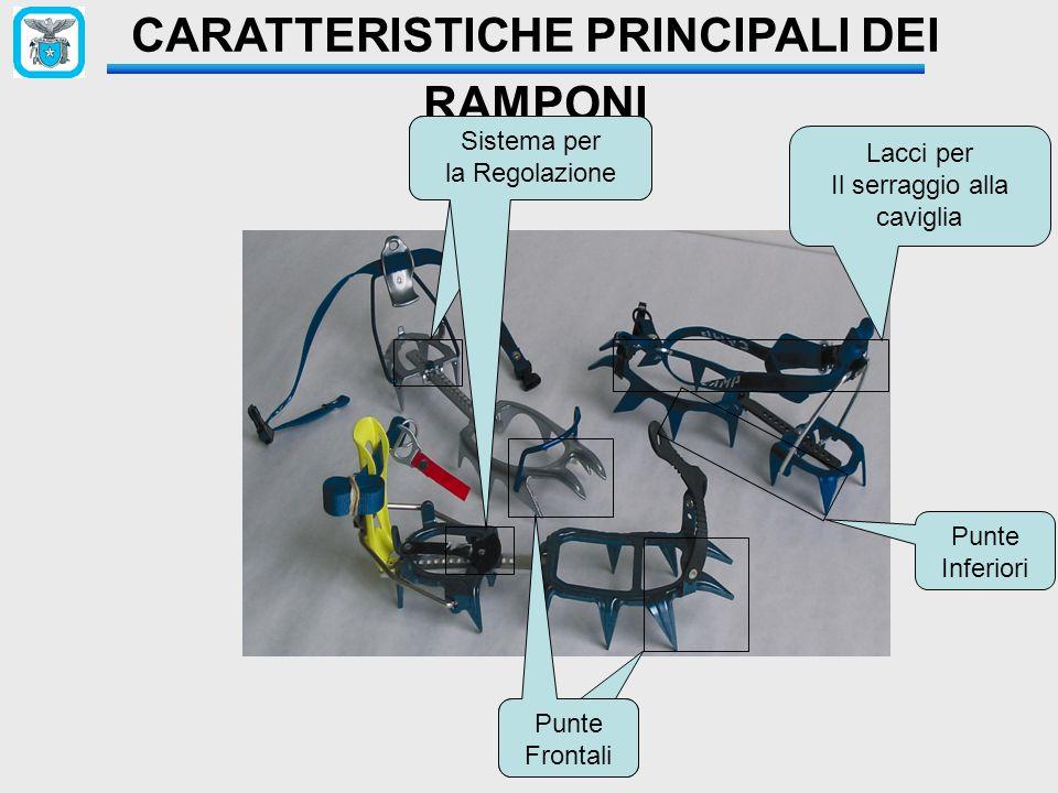 CARATTERISTICHE PRINCIPALI DEI RAMPONI Lacci per Il serraggio alla caviglia Sistema per la Regolazione Sistema per la Regolazione Punte Frontali Punte Frontali Punte Inferiori