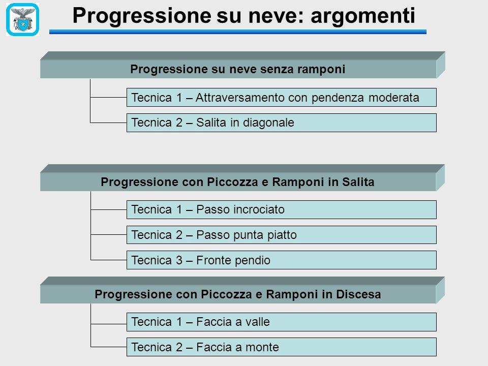 Progressione su neve: argomenti Progressione su neve senza ramponi Tecnica 1 – Attraversamento con pendenza moderata Tecnica 2 – Salita in diagonale P