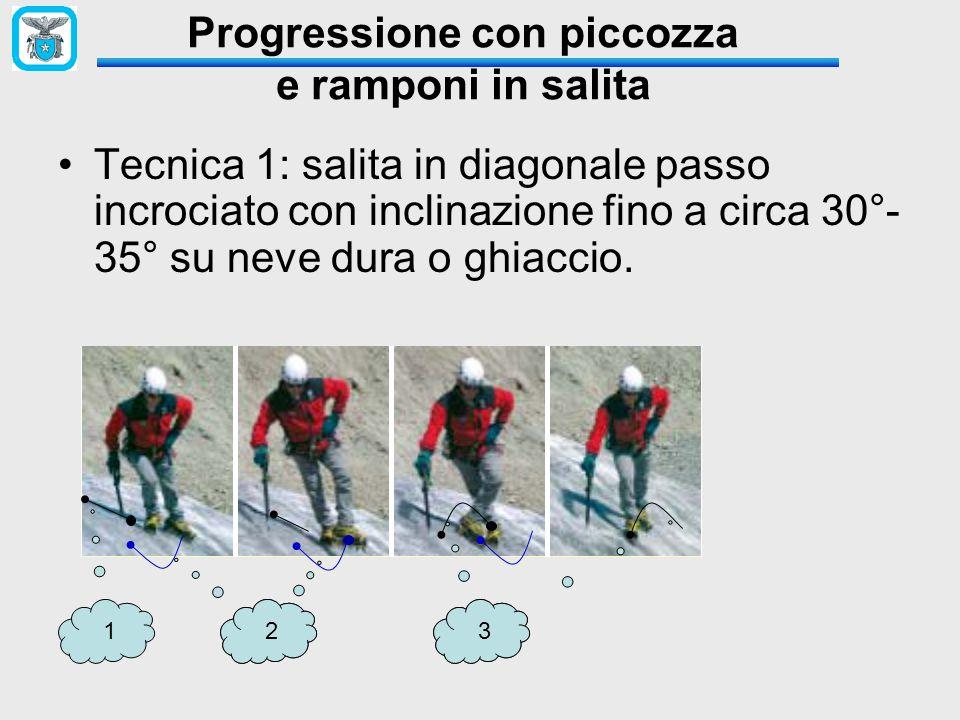 Progressione con piccozza e ramponi in salita Tecnica 1: salita in diagonale passo incrociato con inclinazione fino a circa 30°- 35° su neve dura o ghiaccio.
