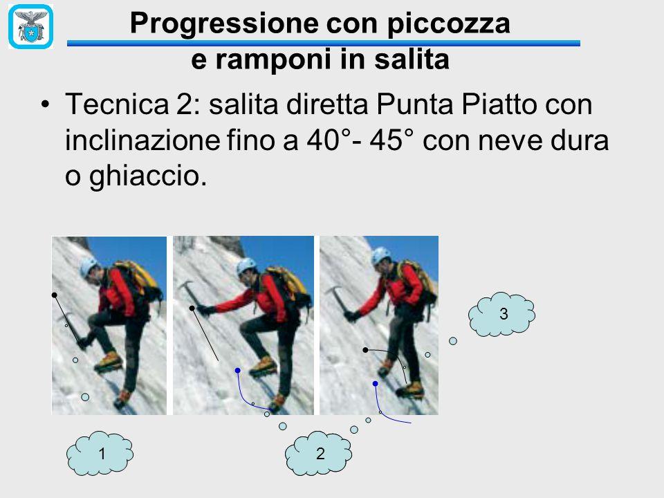 Tecnica 2: salita diretta Punta Piatto con inclinazione fino a 40°- 45° con neve dura o ghiaccio. Progressione con piccozza e ramponi in salita 122 3