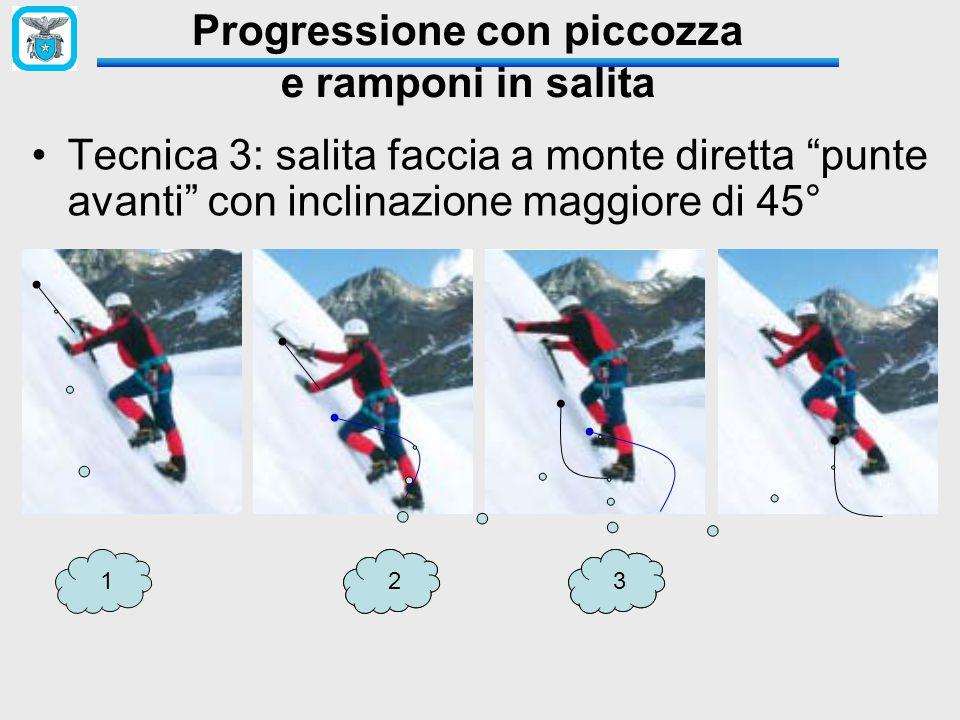 """Tecnica 3: salita faccia a monte diretta """"punte avanti"""" con inclinazione maggiore di 45° Progressione con piccozza e ramponi in salita 12233"""