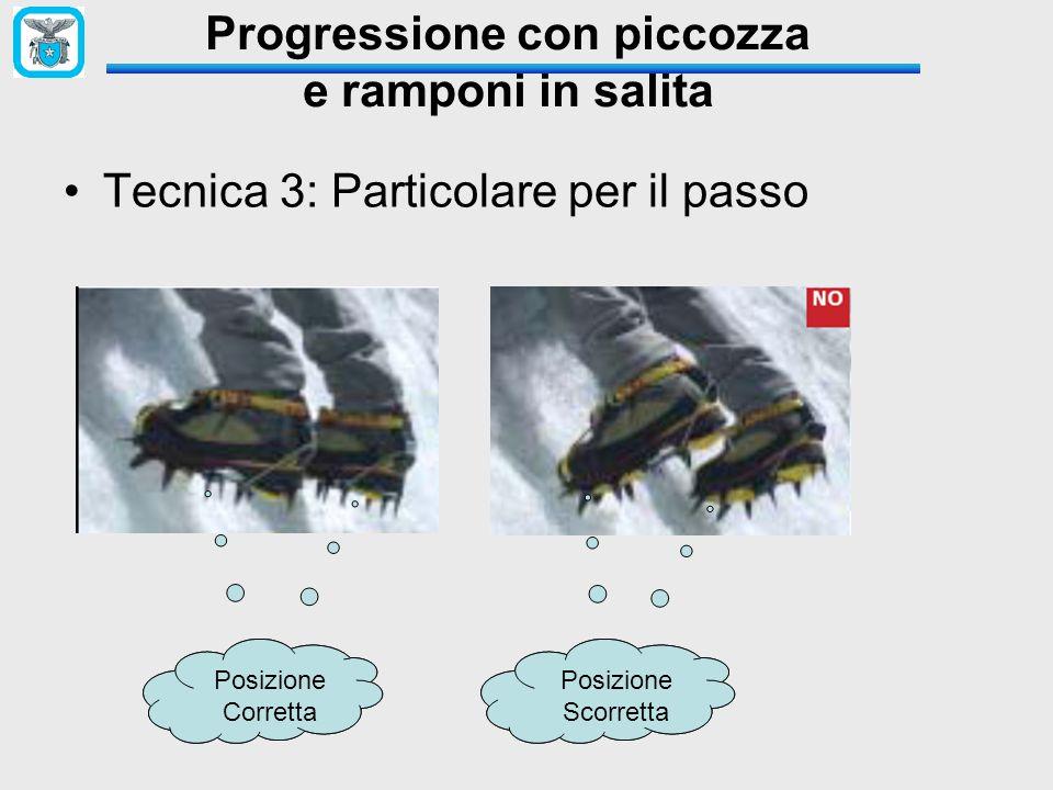 Tecnica 3: Particolare per il passo Posizione Corretta Posizione Corretta Posizione SCORRETA Posizione Scorretta