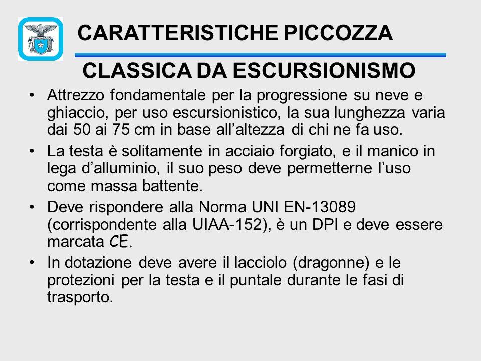 CARATTERISTICHE PRINCIPALI DELLA PICCOZZA Becca Paletta Puntale Testa Manico