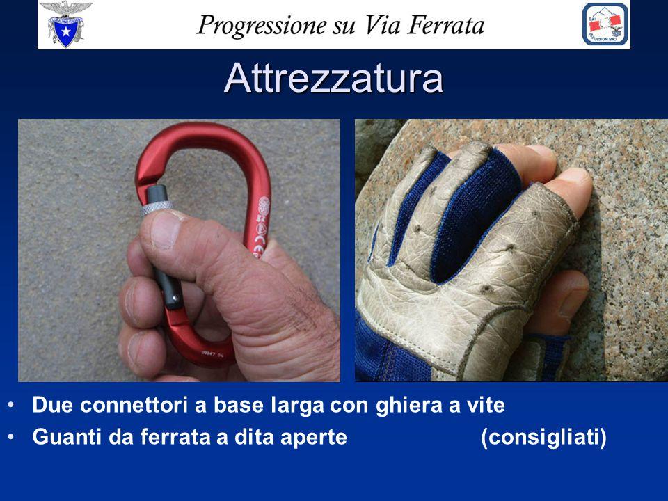 Attrezzatura Due connettori a base larga con ghiera a vite Guanti da ferrata a dita aperte (consigliati)