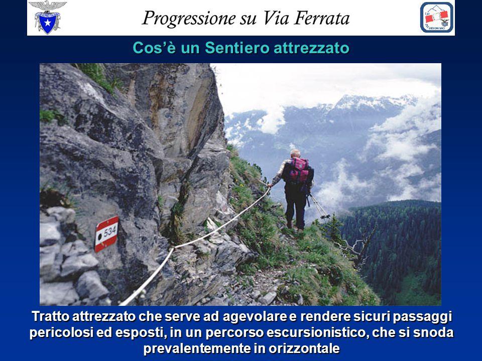 Cos'è un Sentiero attrezzato Tratto attrezzato che serve ad agevolare e rendere sicuri passaggi pericolosi ed esposti, in un percorso escursionistico,