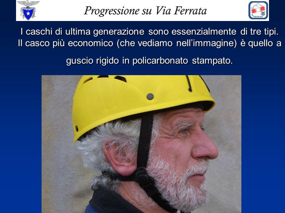 I caschi di ultima generazione sono essenzialmente di tre tipi. Il casco più economico (che vediamo nell'immagine) è quello a guscio rigido in policar