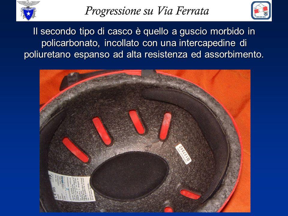 Il secondo tipo di casco è quello a guscio morbido in policarbonato, incollato con una intercapedine di poliuretano espanso ad alta resistenza ed asso