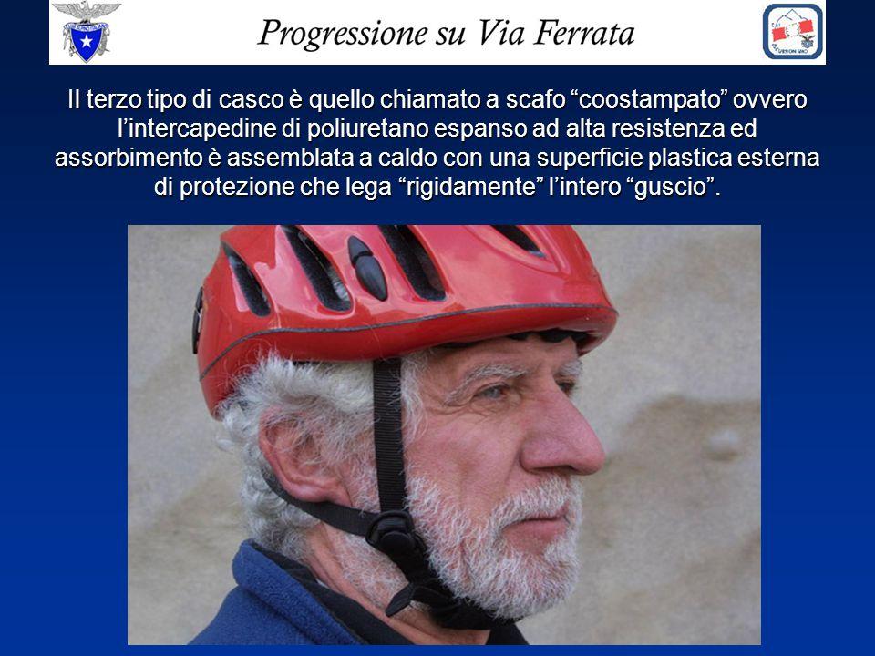 """Il terzo tipo di casco è quello chiamato a scafo """"coostampato"""" ovvero l'intercapedine di poliuretano espanso ad alta resistenza ed assorbimento è asse"""