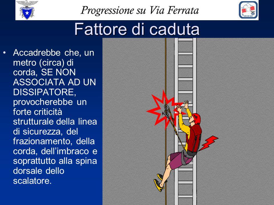 Fattore di caduta Accadrebbe che, un metro (circa) di corda, SE NON ASSOCIATA AD UN DISSIPATORE, provocherebbe un forte criticità strutturale della li