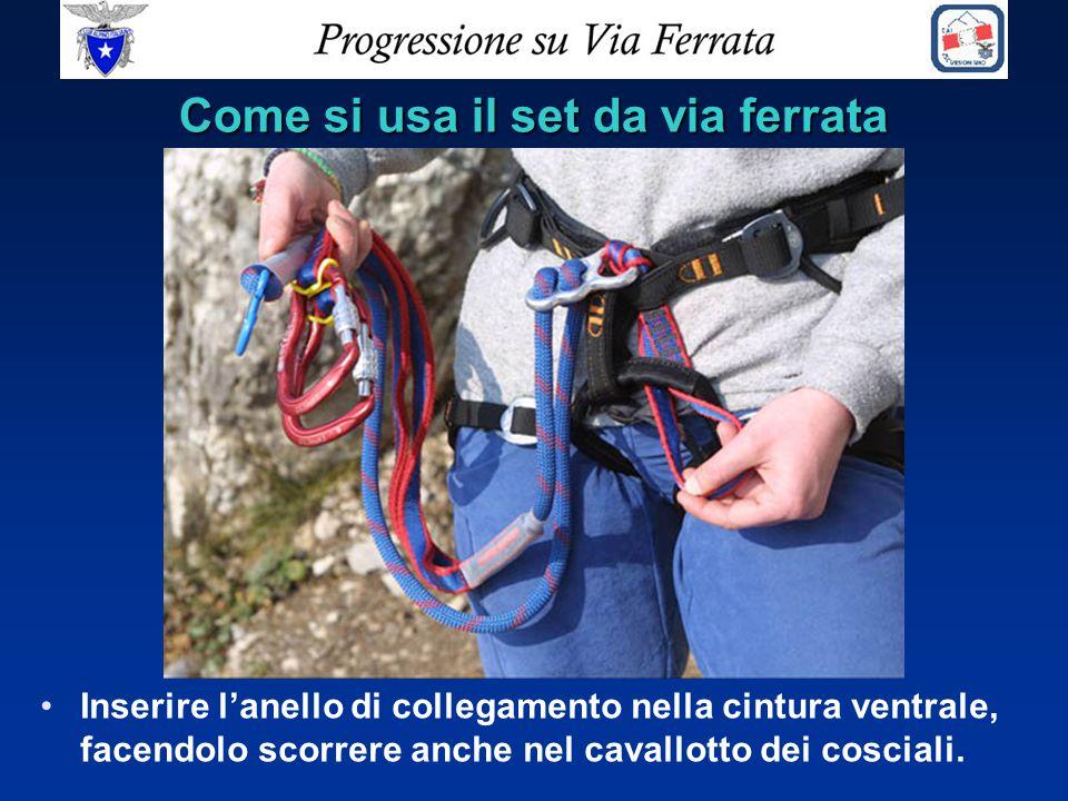 Come si usa il set da via ferrata Inserire l'anello di collegamento nella cintura ventrale, facendolo scorrere anche nel cavallotto dei cosciali.