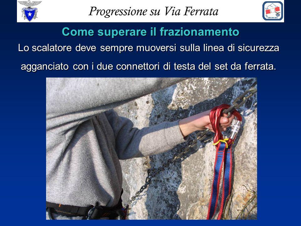 Lo scalatore deve sempre muoversi sulla linea di sicurezza agganciato con i due connettori di testa del set da ferrata. Come superare il frazionamento