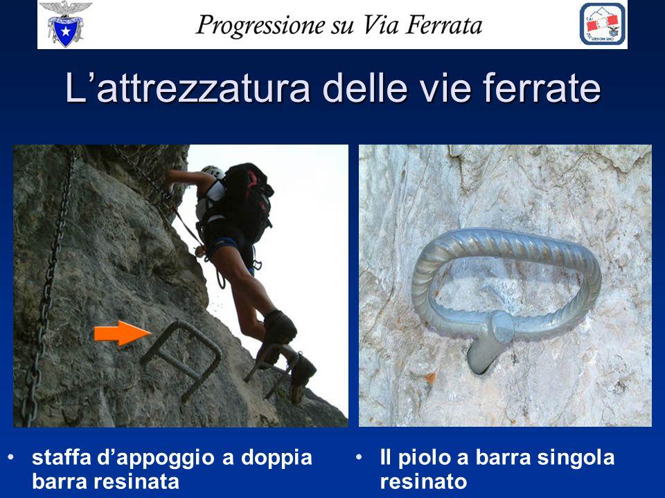 Lo scalatore deve sempre muoversi sulla linea di sicurezza agganciato con i due connettori di testa del set da ferrata.