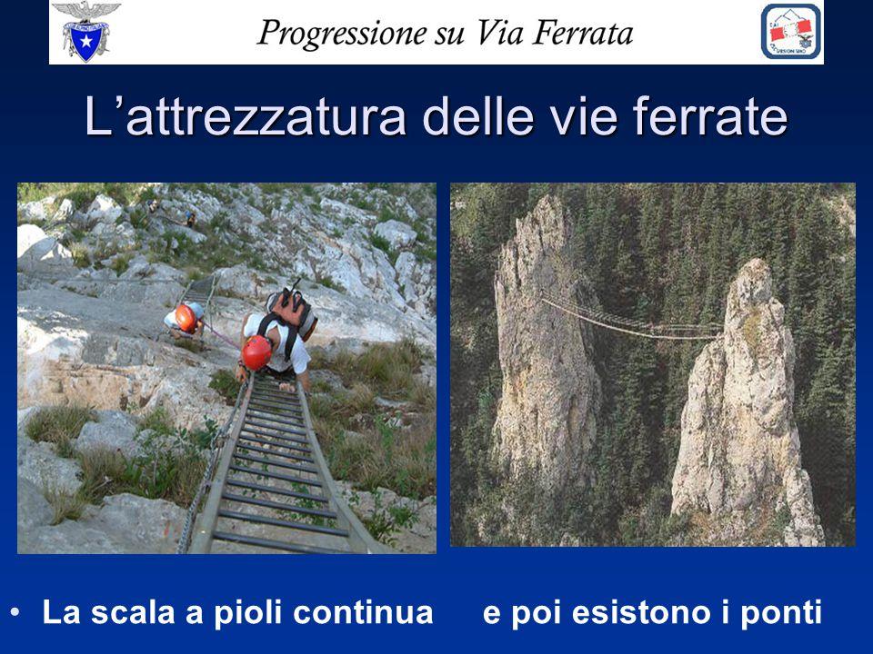 L'attrezzatura delle vie ferrate La scala a pioli continua e poi esistono i ponti