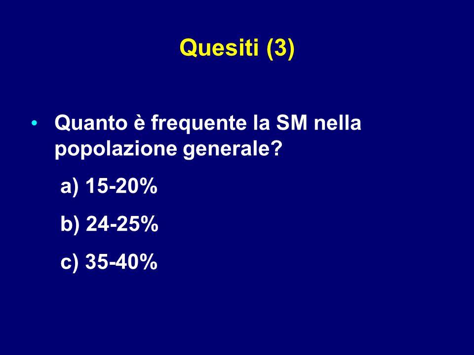 Quanto è frequente la SM nella popolazione generale? a) 15-20% b) 24-25% c) 35-40% Quesiti (3)