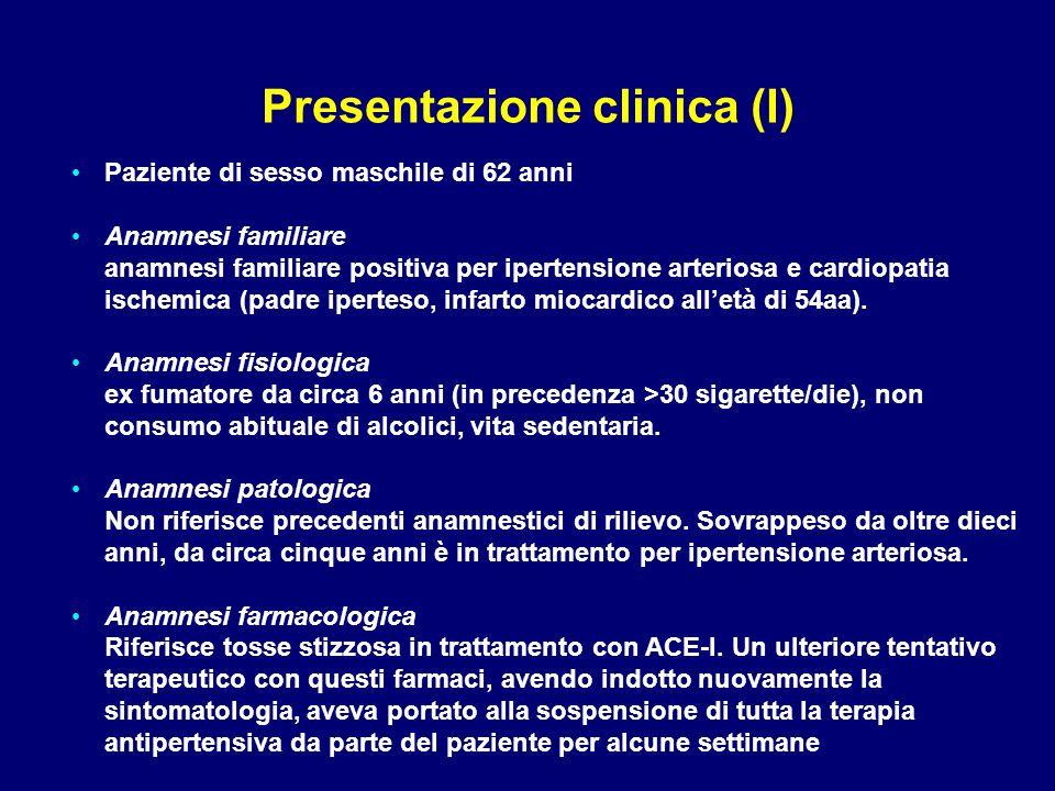 Paziente di sesso maschile di 62 anni Anamnesi familiare anamnesi familiare positiva per ipertensione arteriosa e cardiopatia ischemica (padre iperteso, infarto miocardico all'età di 54aa).