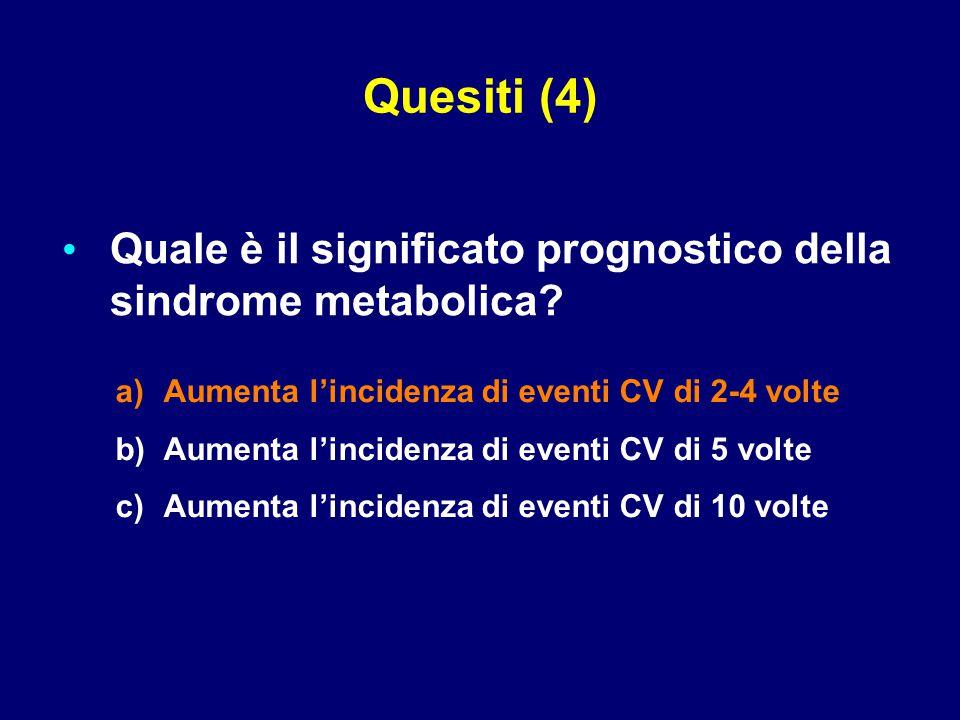 Quale è il significato prognostico della sindrome metabolica? a) a)Aumenta l'incidenza di eventi CV di 2-4 volte b) b)Aumenta l'incidenza di eventi CV