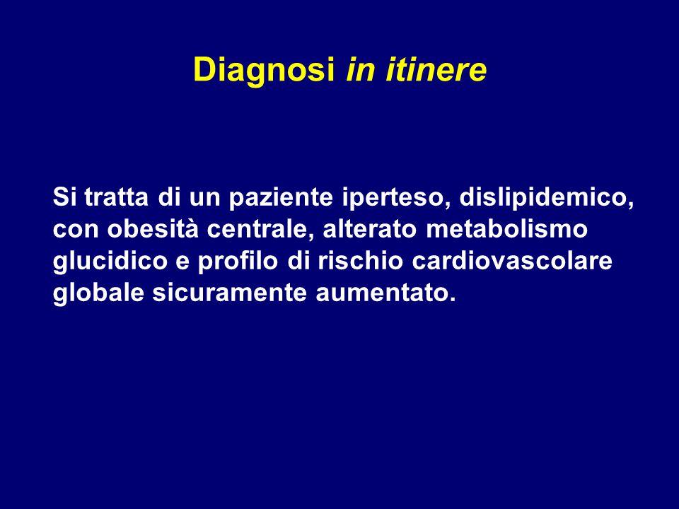 Si tratta di un paziente iperteso, dislipidemico, con obesità centrale, alterato metabolismo glucidico e profilo di rischio cardiovascolare globale si