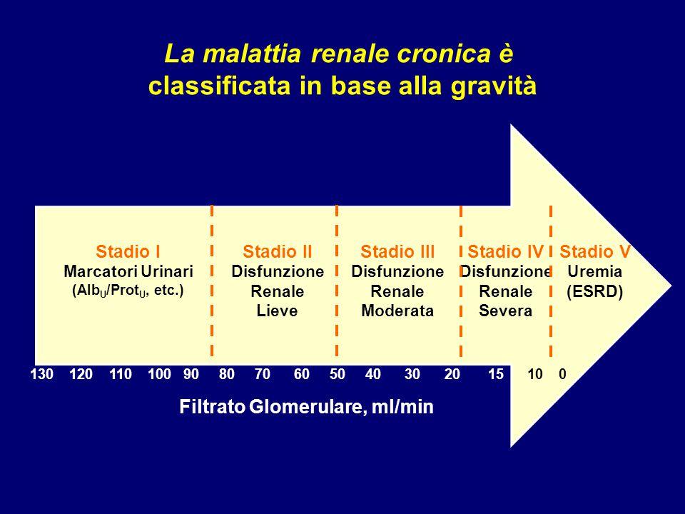 La malattia renale cronica è classificata in base alla gravità Stadio II Disfunzione Renale Lieve Stadio III Disfunzione Renale Moderata Stadio IV Dis