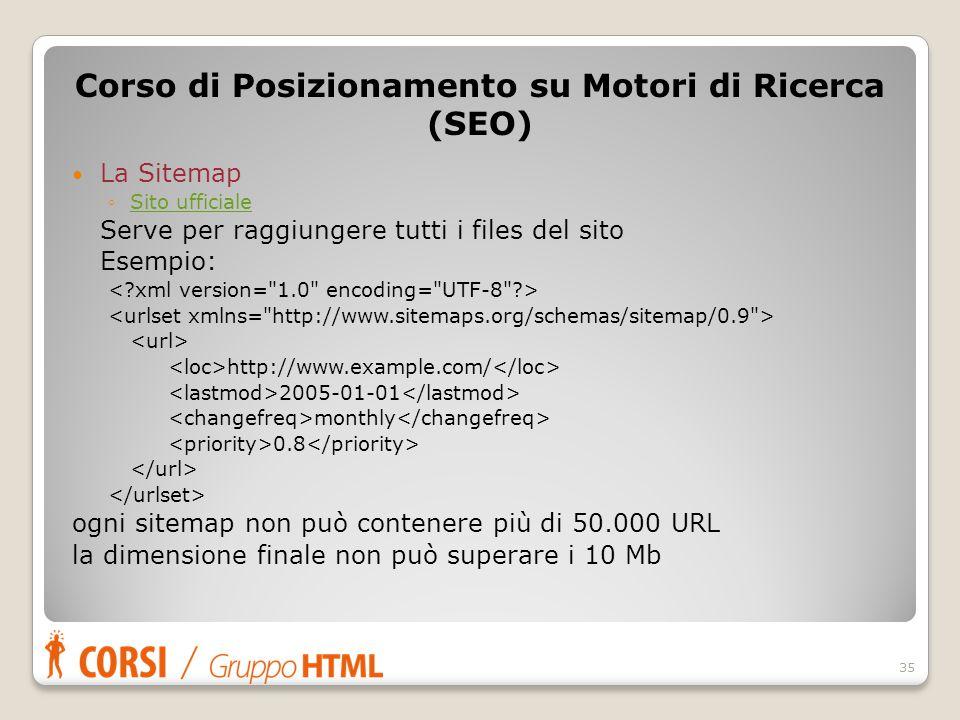La Sitemap ◦Sito ufficialeSito ufficiale Serve per raggiungere tutti i files del sito Esempio: http://www.example.com/ 2005-01-01 monthly 0.8 ogni sit