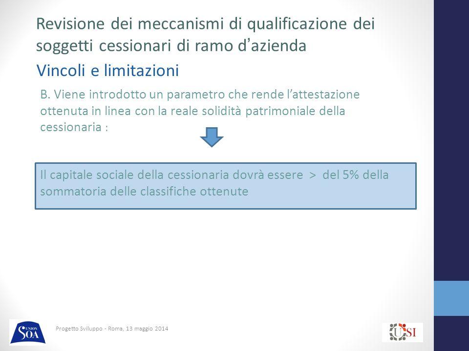 Progetto Sviluppo - Roma, 13 maggio 2014 Vincoli e limitazioni Revisione dei meccanismi di qualificazione dei soggetti cessionari di ramo d'azienda B.