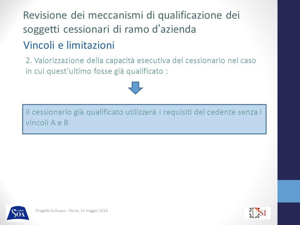 Progetto Sviluppo - Roma, 13 maggio 2014 Vincoli e limitazioni Revisione dei meccanismi di qualificazione dei soggetti cessionari di ramo d'azienda 2.