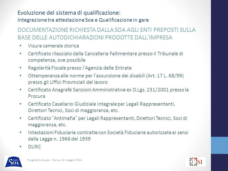 Progetto Sviluppo - Roma, 13 maggio 2014 DOCUMENTAZIONE RICHIESTA DALLA SOA AGLI ENTI PREPOSTI SULLA BASE DELLE AUTODICHIARAZIONI PRODOTTE DALL'IMPRESA Visura camerale storica Certificato rilasciato dalla Cancelleria Fallimentare presso il Tribunale di competenza, ove possibile Regolarità Fiscale presso l'Agenzia delle Entrate Ottemperanza alle norme per l'assunzione dei disabili (Art.