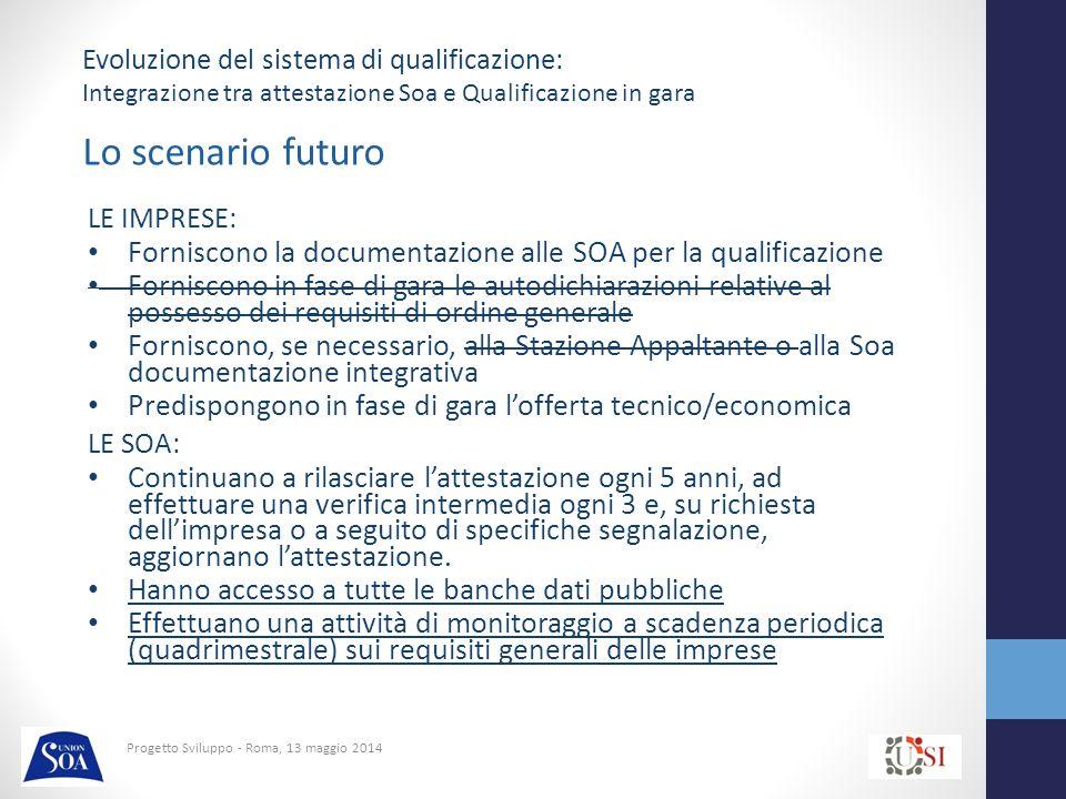 Progetto Sviluppo - Roma, 13 maggio 2014 Attività di monitoraggio Prevedere per le Soa l'accesso alle Banche Dati pubbliche Verifica periodica dei requisiti generali In caso di carenza dei requisiti, attivazione di un procedimento istruttorio di valutazione con conseguente: – Riconferma dell'attestazione – Sospensione dell'attestazione – Decadenza dell'attestazione Evoluzione del sistema di qualificazione: Integrazione tra attestazione Soa e Qualificazione in gara