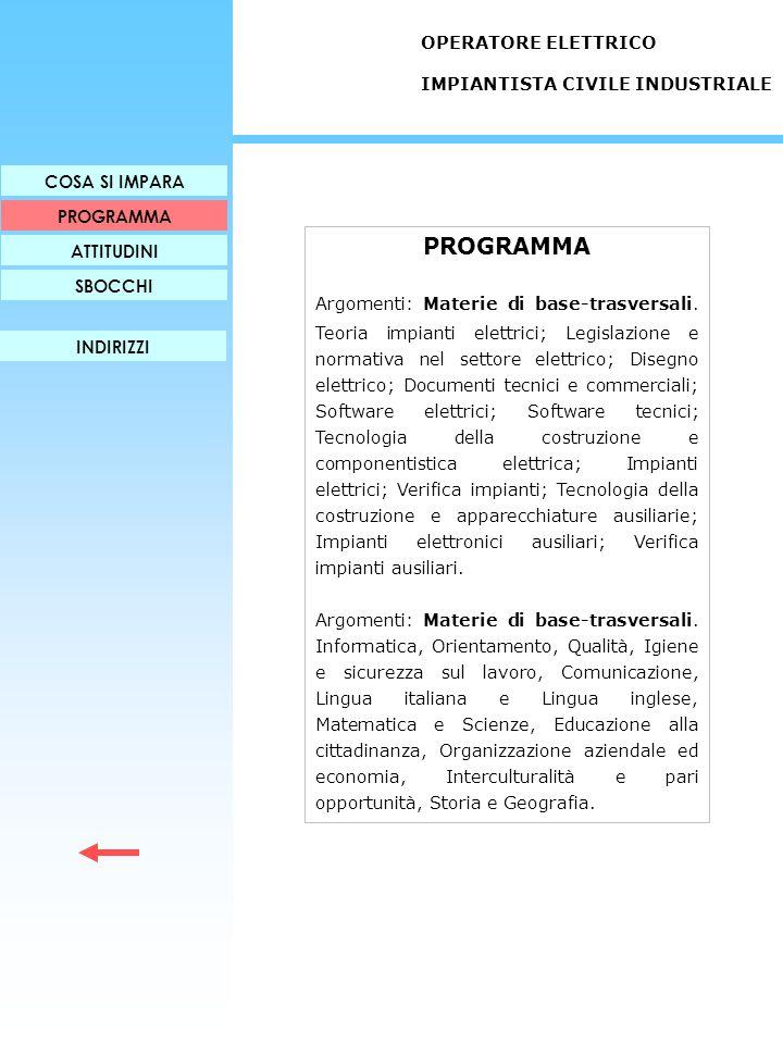 PROGRAMMA Argomenti: Materie di base-trasversali. Teoria impianti elettrici; Legislazione e normativa nel settore elettrico; Disegno elettrico; Docume