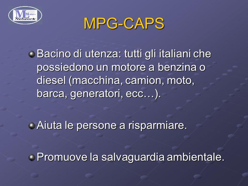 MPG-CAPS Bacino di utenza: tutti gli italiani che possiedono un motore a benzina o diesel (macchina, camion, moto, barca, generatori, ecc…).