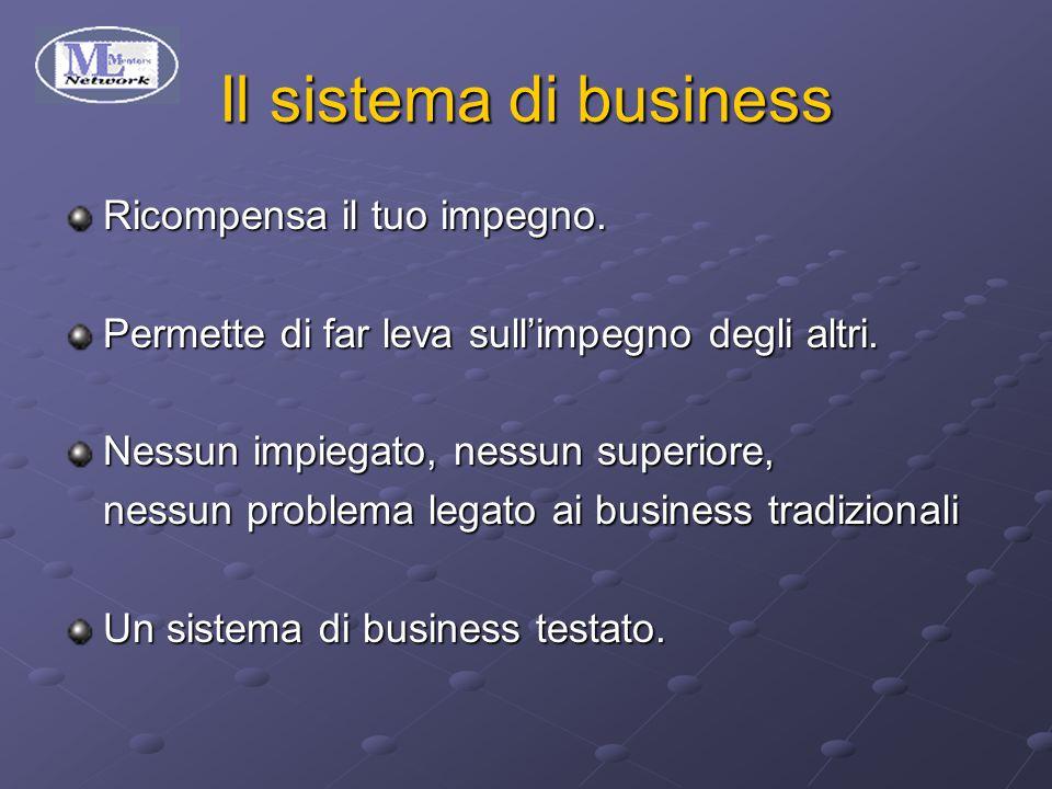 Il sistema di business Ricompensa il tuo impegno. Permette di far leva sull'impegno degli altri.