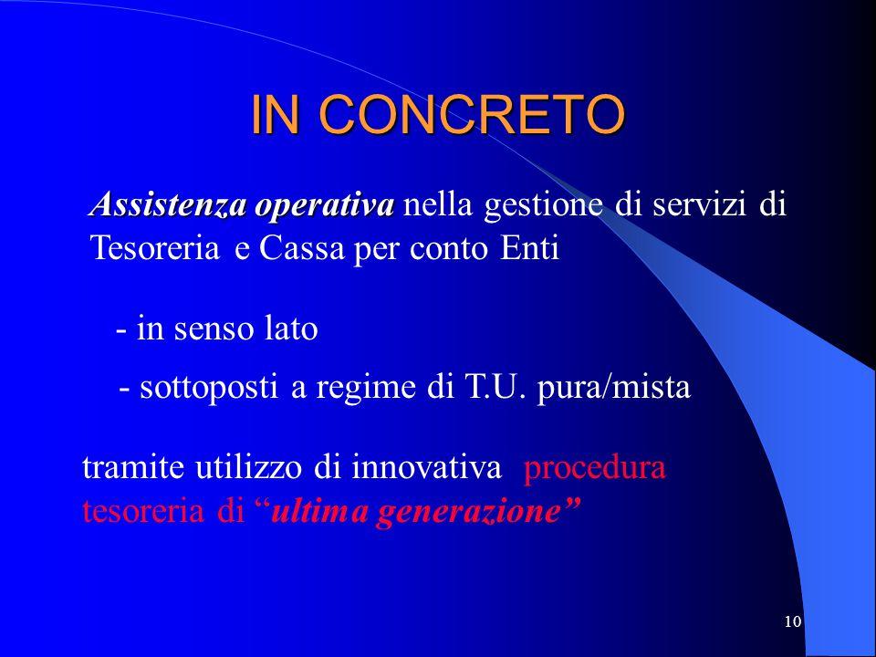 10 IN CONCRETO Assistenza operativa Assistenza operativa nella gestione di servizi di Tesoreria e Cassa per conto Enti - in senso lato - sottoposti a