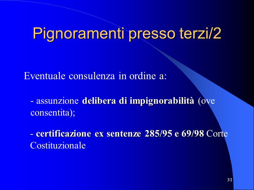 31 Pignoramenti presso terzi/2 Eventuale consulenza in ordine a: delibera di impignorabilità - assunzione delibera di impignorabilità (ove consentita)