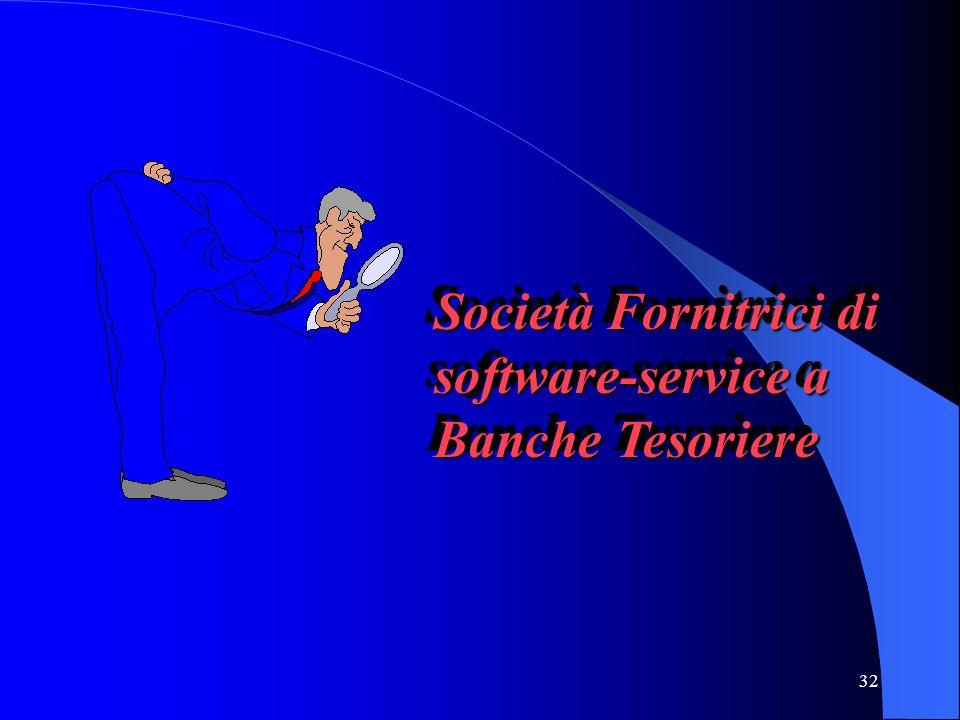 32 Società Fornitrici di software-service a Banche Tesoriere