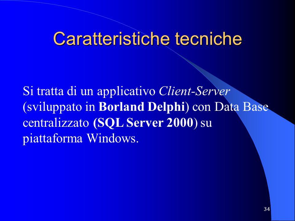 34 Caratteristiche tecniche Si tratta di un applicativo Client-Server (sviluppato in Borland Delphi) con Data Base centralizzato (SQL Server 2000) su