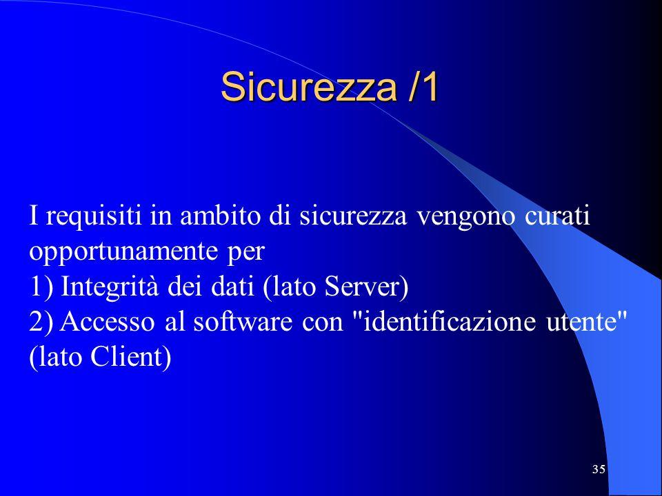 35 Sicurezza /1 I requisiti in ambito di sicurezza vengono curati opportunamente per 1) Integrità dei dati (lato Server) 2) Accesso al software con