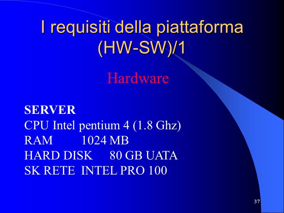37 I requisiti della piattaforma (HW-SW)/1 Hardware SERVER CPUIntel pentium 4 (1.8 Ghz) RAM1024 MB HARD DISK80 GB UATA SK RETEINTEL PRO 100