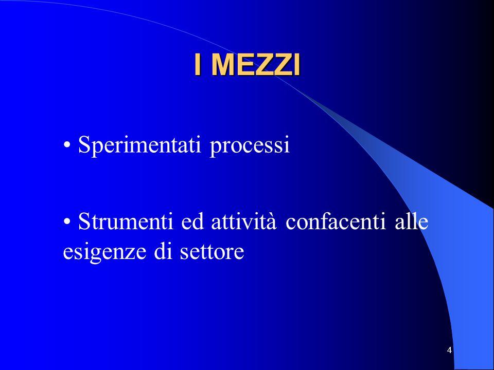 4 I MEZZI Sperimentati processi Strumenti ed attività confacenti alle esigenze di settore