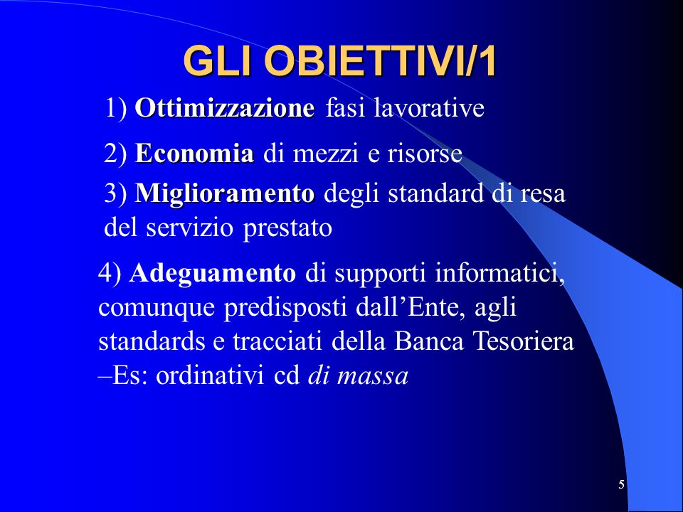 5 GLI OBIETTIVI/1 Ottimizzazione 1) Ottimizzazione fasi lavorative Economia 2) Economia di mezzi e risorse Miglioramento 3) Miglioramento degli standa