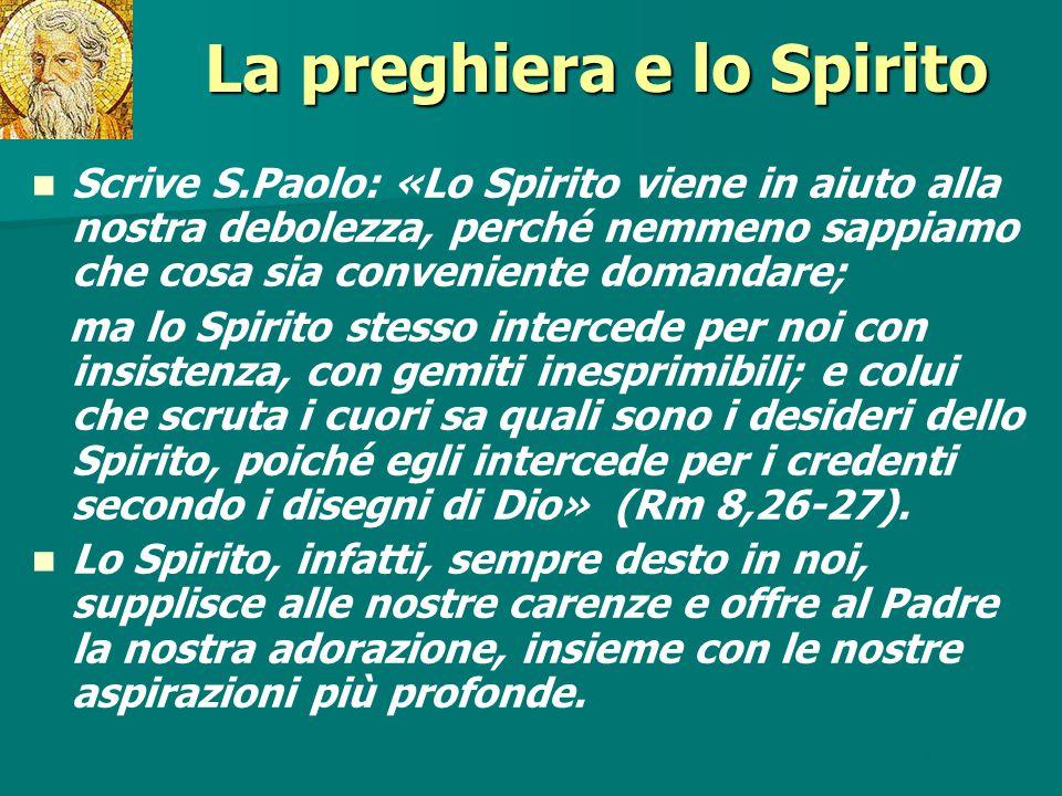 La preghiera e lo Spirito Scrive S.Paolo: «Lo Spirito viene in aiuto alla nostra debolezza, perché nemmeno sappiamo che cosa sia conveniente domandare