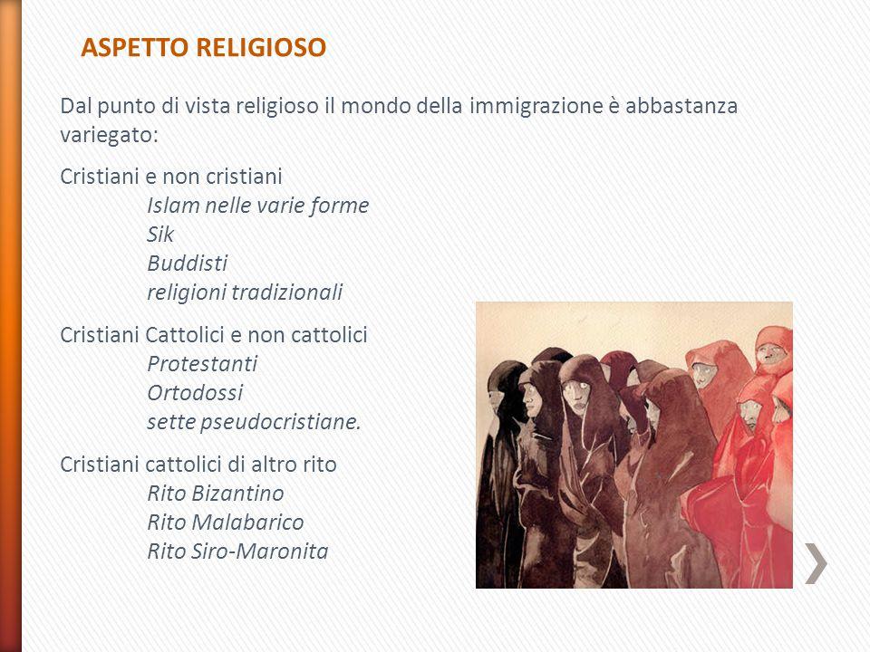ASPETTO RELIGIOSO Dal punto di vista religioso il mondo della immigrazione è abbastanza variegato: Cristiani e non cristiani Islam nelle varie forme Sik Buddisti religioni tradizionali Cristiani Cattolici e non cattolici Protestanti Ortodossi sette pseudocristiane.