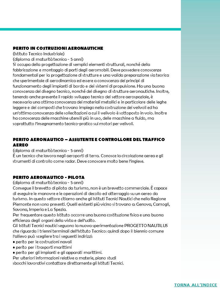 PERITO IN COSTRUZIONI AERONAUTICHE (Istituto Tecnico Industriale) (diploma di maturità tecnica - 5 anni) Si occupa della progettazione di semplici ele